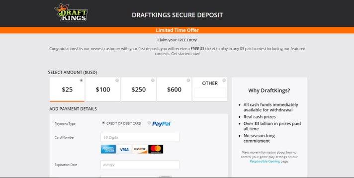 DraftKings deposit page